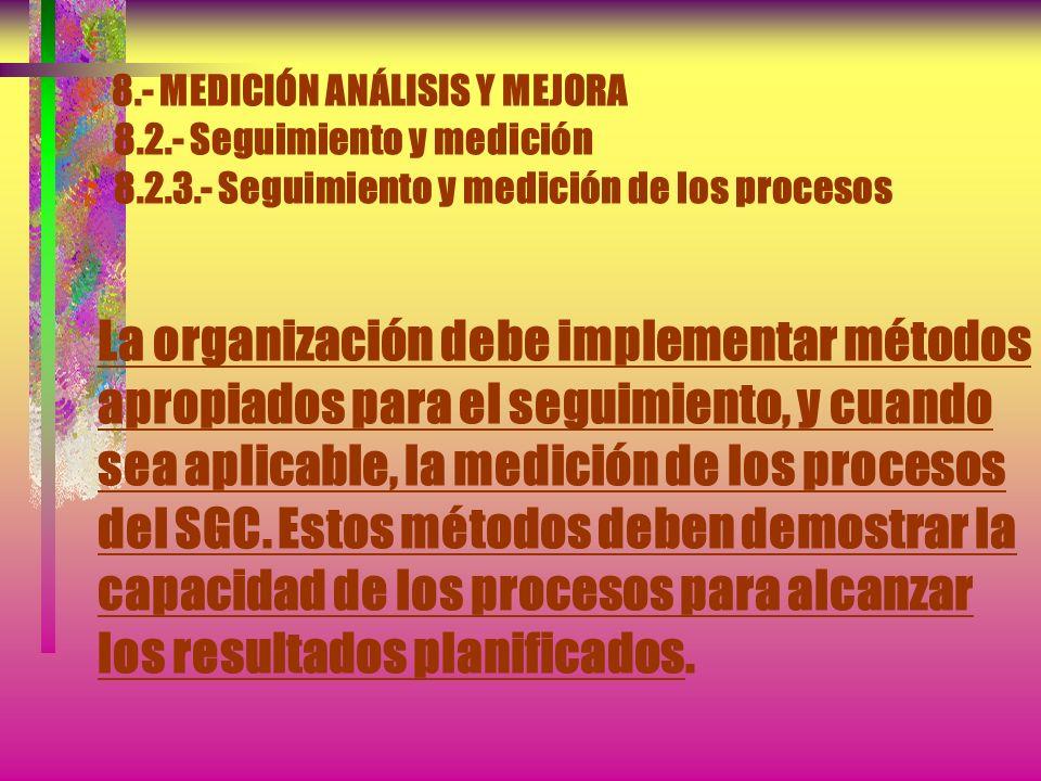 8.- MEDICIÓN ANÁLISIS Y MEJORA 8.2.- Seguimiento y medición 8.2.3.- Seguimiento y medición de los procesos NOTA.- Véase las Normas ISO 10011-1, ISO 10
