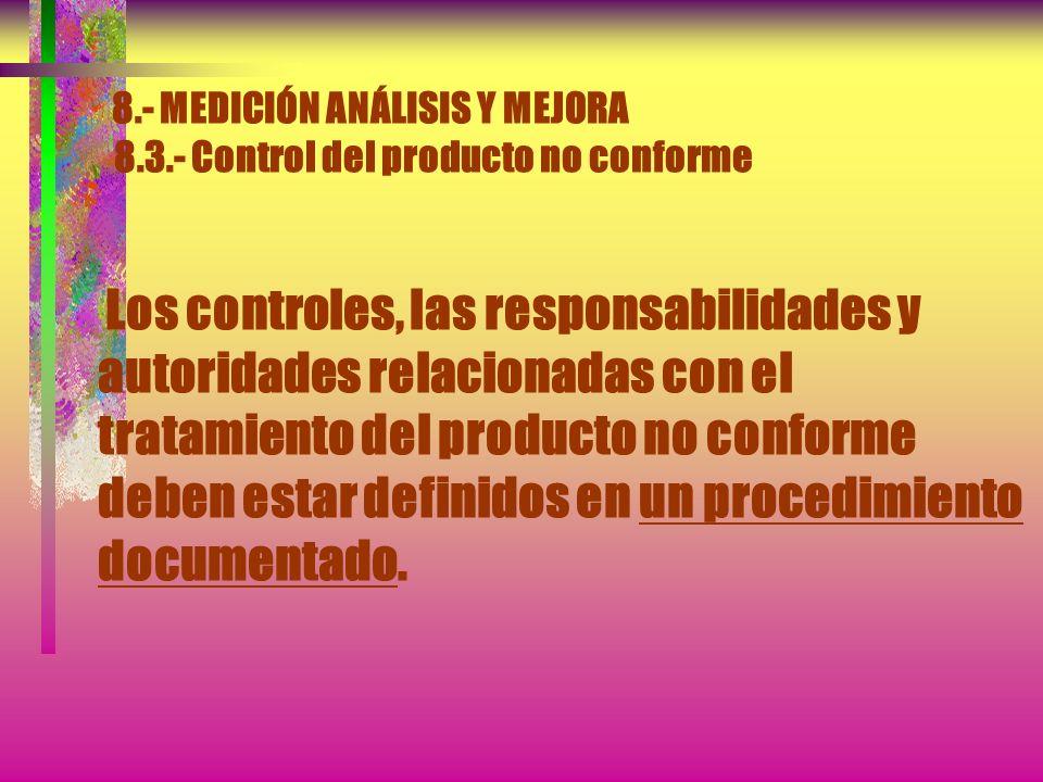 8.- MEDICIÓN ANÁLISIS Y MEJORA 8.3.- Control del producto no conforme La organización debe asegurarse de que el producto que no sea conforme con los r