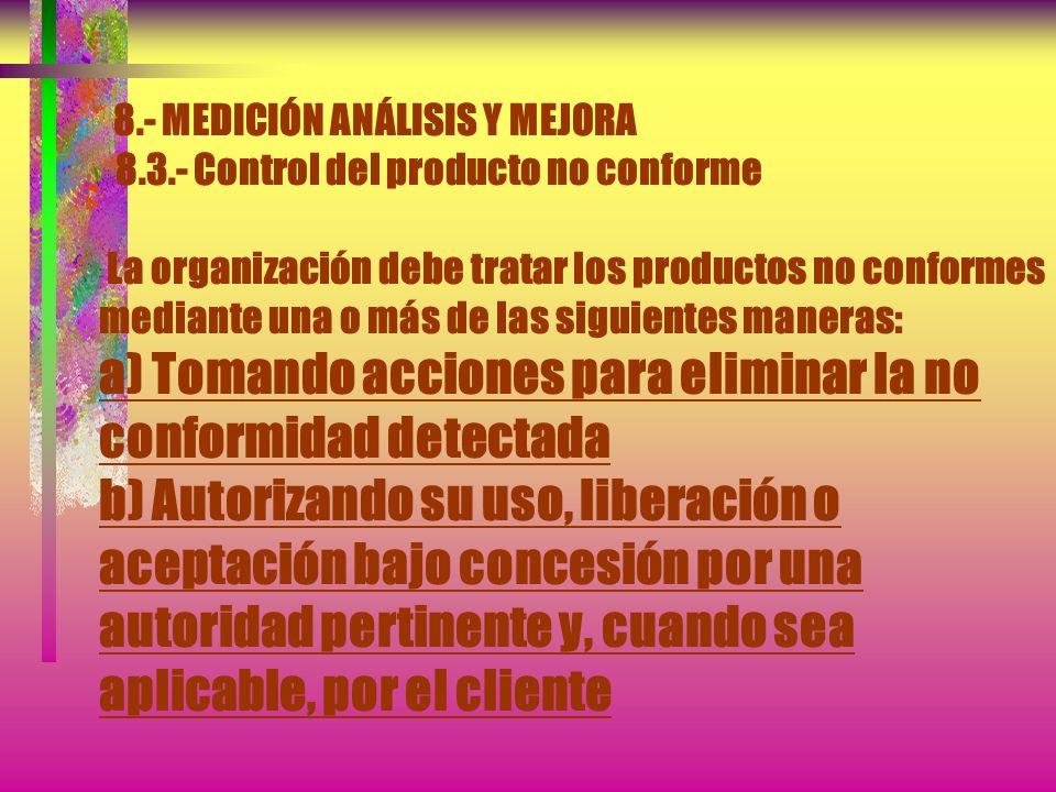 8.- MEDICIÓN ANÁLISIS Y MEJORA 8.3.- Control del producto no conforme Los controles, las responsabilidades y autoridades relacionadas con el tratamien