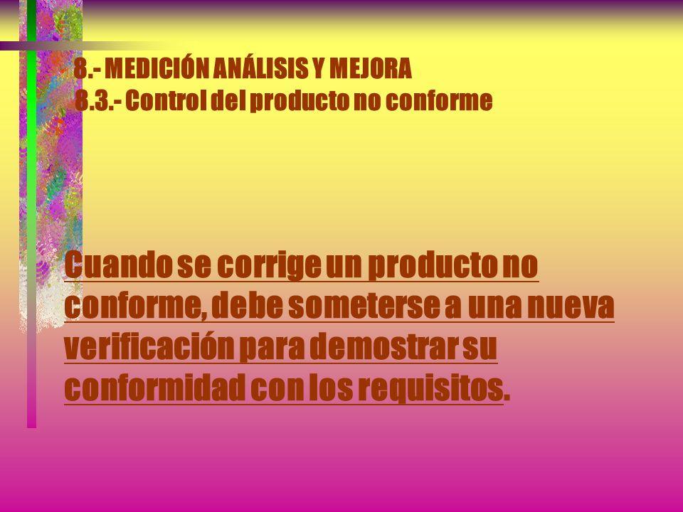 8.- MEDICIÓN ANÁLISIS Y MEJORA 8.3.- Control del producto no conforme c) Tomando acciones para impedir su uso o aplicación originalmente previsto. Se