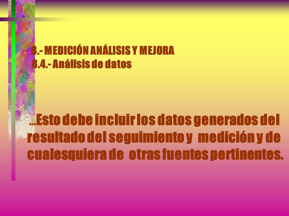 8.- MEDICIÓN ANÁLISIS Y MEJORA 8.4.- Análisis de datos La organización debe determinar y organizar los datos, recopilar y analizar los datos apropiado