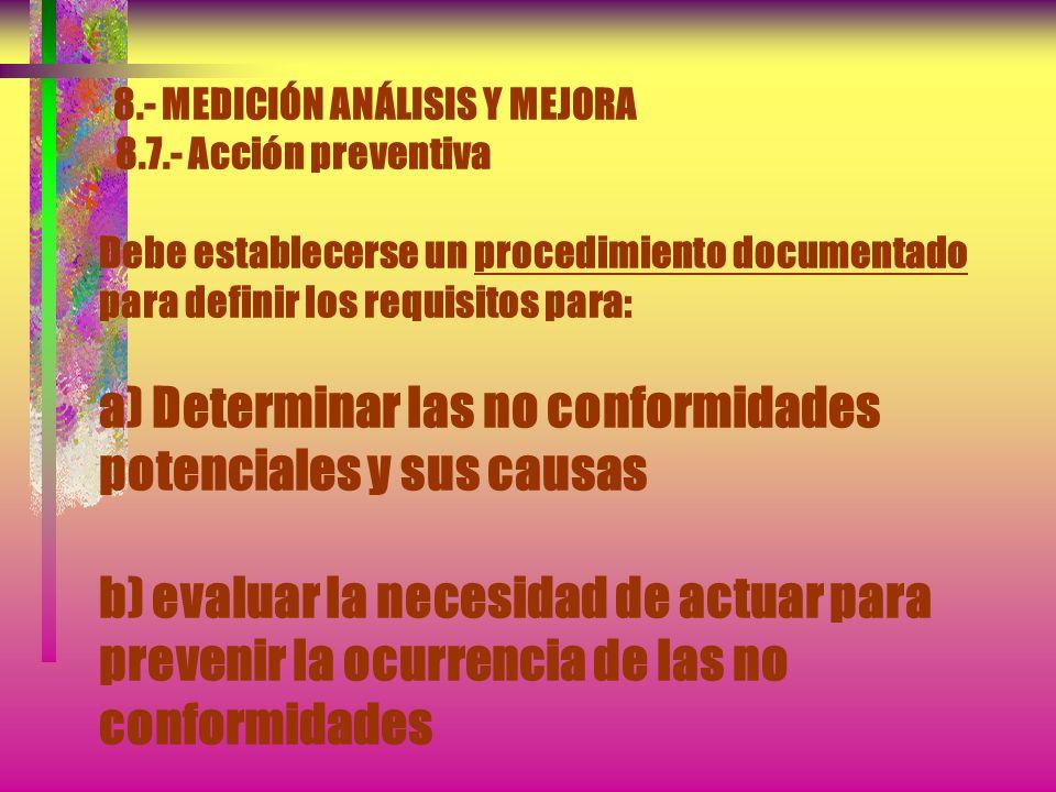 8.- MEDICIÓN ANÁLISIS Y MEJORA 8.7.- Acción preventiva La organización debe determinar acciones para eliminar las causas de no conformidades potencial
