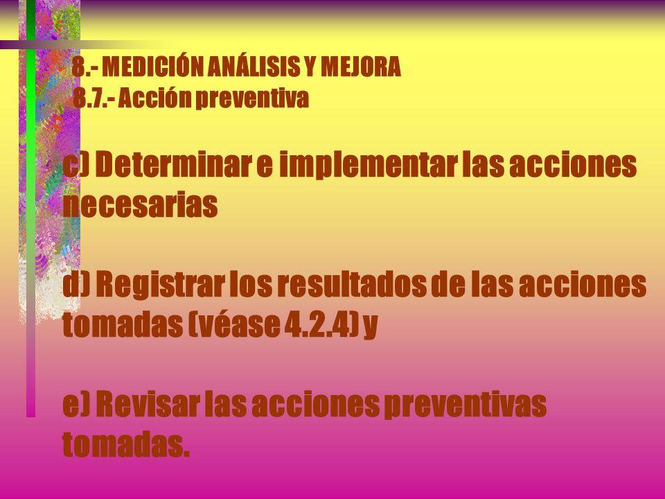8.- MEDICIÓN ANÁLISIS Y MEJORA 8.7.- Acción preventiva Debe establecerse un procedimiento documentado para definir los requisitos para: a) Determinar
