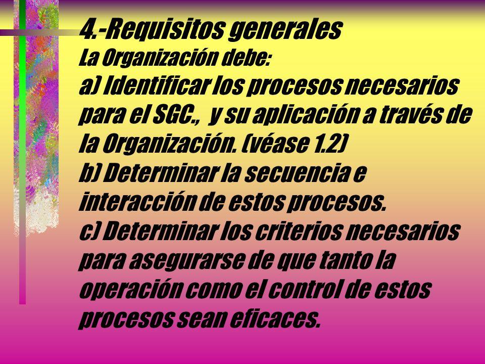 4.- Sistema de gestión de la calidad La Organización debe establecer, documentar, implementar y mantener un sistema de gestión de la calidad y mejorar