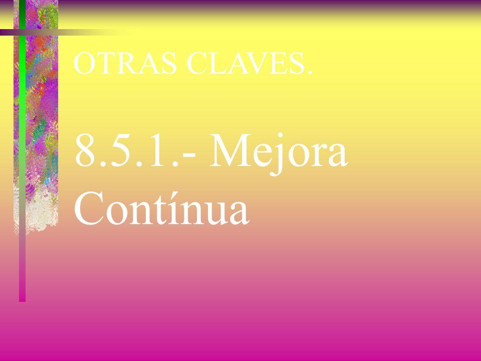 OTRAS CLAVES. 8.3.- Control del Producto No Conforme