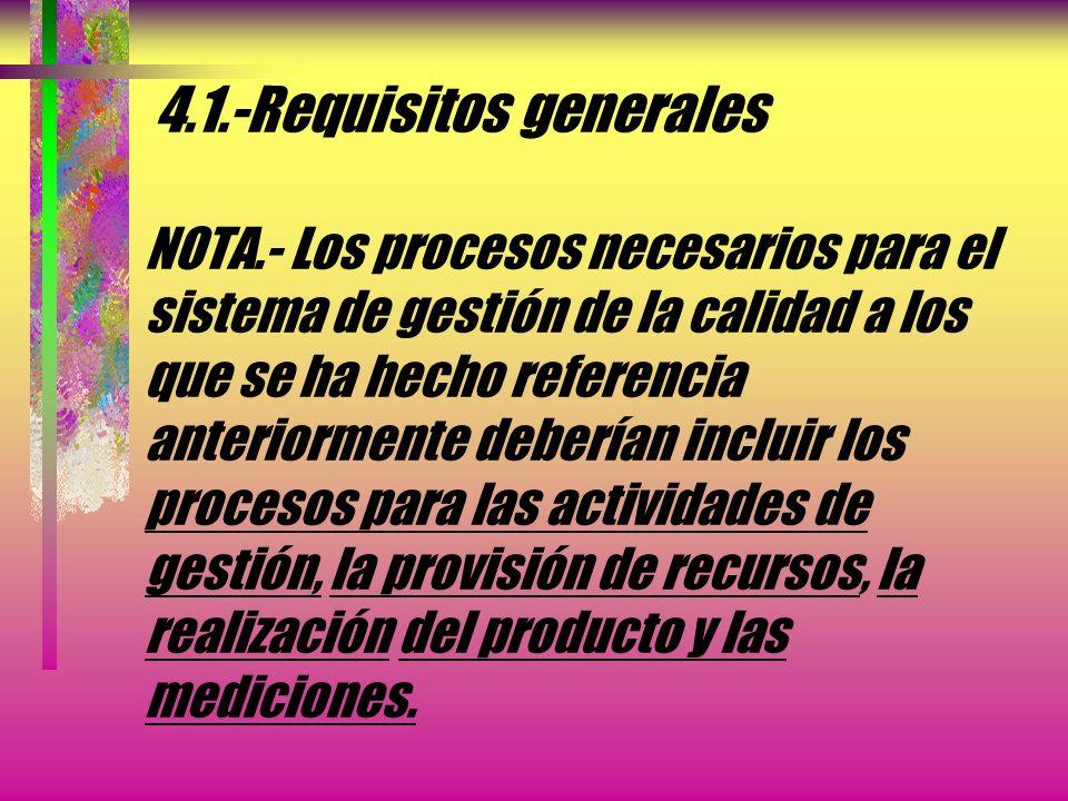 4.1.-Requisitos generales La Organización debe gestionar estos procesos de acuerdo con los requisitos de esta Norma Internacional En los casos en que
