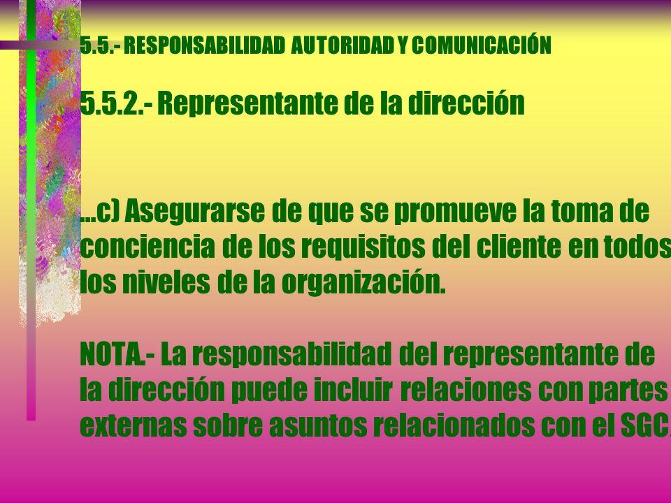 5.5.- RESPONSABILIDAD AUTORIDAD Y COMUNICACIÓN 5.5.2.- Representante de la dirección La alta dirección debe designar un miembro de la dirección quien,
