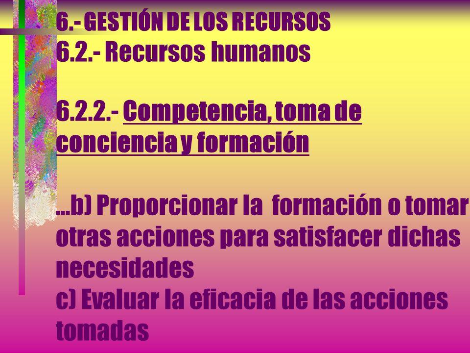 6.- GESTIÓN DE LOS RECURSOS 6.2.- Recursos humanos 6.2.2.- Competencia, toma de conciencia y formación La organización debe: a) Determinar la competen