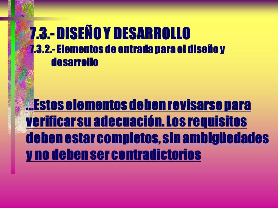 7.3.- DISEÑO Y DESARROLLO 7.3.2.- Elementos de entrada para el diseño y desarrollo Deben determinarse los elementos de entrada relacionados con los re