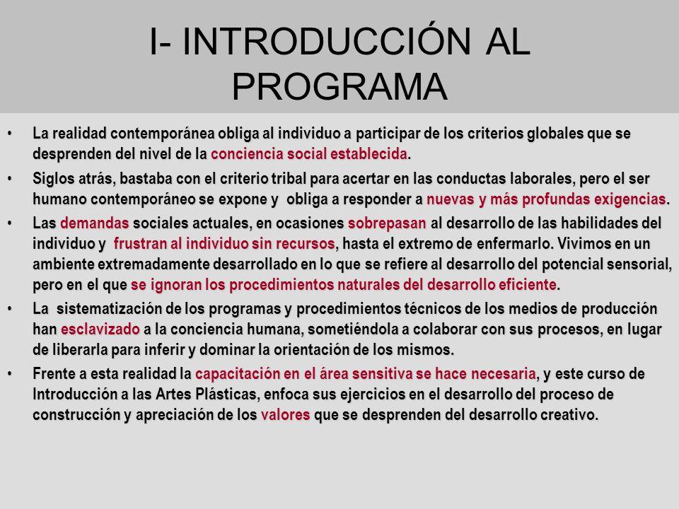 I- INTRODUCCIÓN AL PROGRAMA La realidad contemporánea obliga al individuo a participar de los criterios globales que se desprenden del nivel de la con