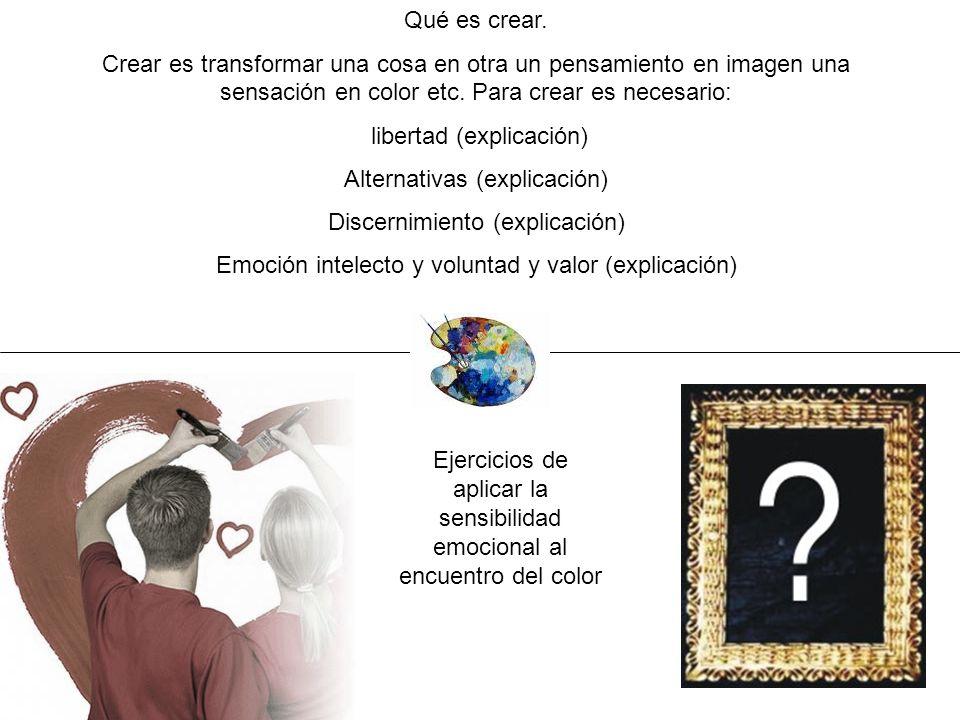 Qué es crear. Crear es transformar una cosa en otra un pensamiento en imagen una sensación en color etc. Para crear es necesario: libertad (explicació
