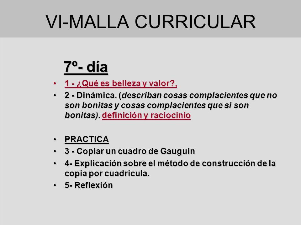 VI-MALLA CURRICULAR 7º- día 7º- día 1 - ¿Qué es belleza y valor?,1 - ¿Qué es belleza y valor?, 2 - Dinámica. (describan cosas complacientes que no son