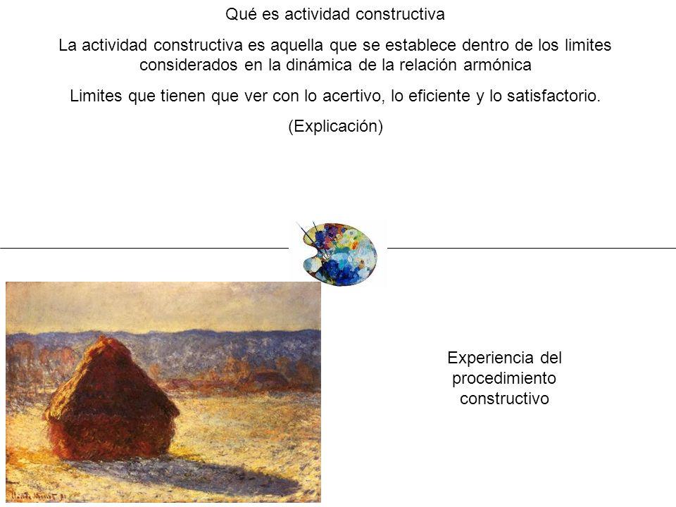 Qué es actividad constructiva La actividad constructiva es aquella que se establece dentro de los limites considerados en la dinámica de la relación a