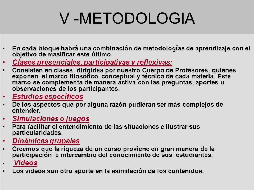 V -METODOLOGIA En cada bloque habrá una combinación de metodologías de aprendizaje con el objetivo de masificar este últimoEn cada bloque habrá una co