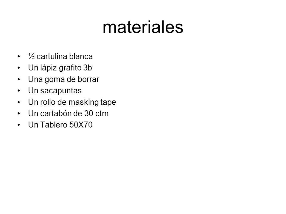 materiales ½ cartulina blanca Un lápiz grafito 3b Una goma de borrar Un sacapuntas Un rollo de masking tape Un cartabón de 30 ctm Un Tablero 50X70