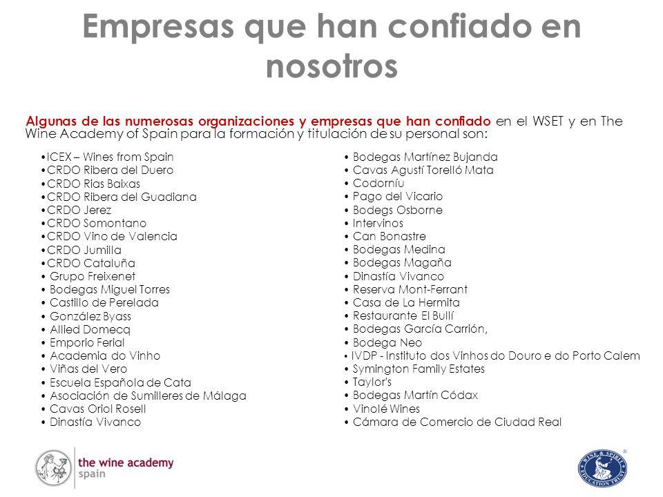 Empresas que han confiado en nosotros ICEX – Wines from Spain CRDO Ribera del Duero CRDO Rias Baixas CRDO Ribera del Guadiana CRDO Jerez CRDO Somontan
