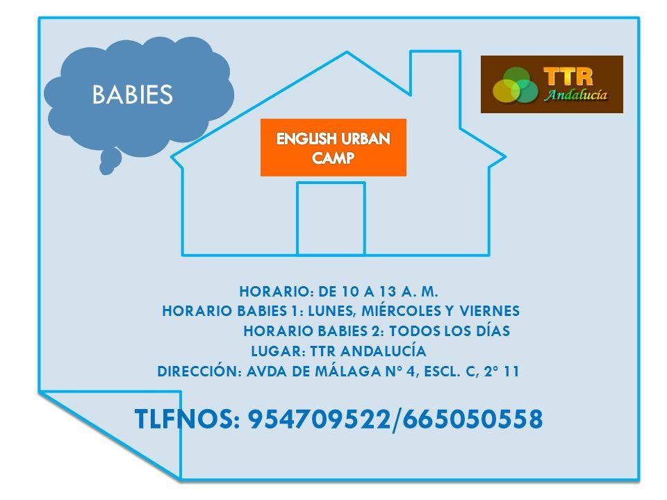 HORARIO: DE 10 A 13 A. M. HORARIO BABIES 1: LUNES, MIÉRCOLES Y VIERNES HORARIO BABIES 2: TODOS LOS DÍAS LUGAR: TTR ANDALUCÍA DIRECCIÓN: AVDA DE MÁLAGA