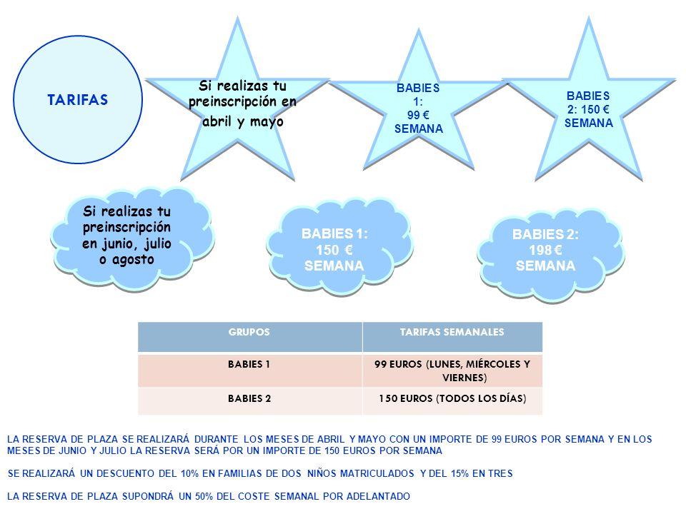 TARIFAS GRUPOSTARIFAS SEMANALES BABIES 199 EUROS (LUNES, MIÉRCOLES Y VIERNES) BABIES 2150 EUROS (TODOS LOS DÍAS) BABIES 1: 150 SEMANA BABIES 1: 150 SE