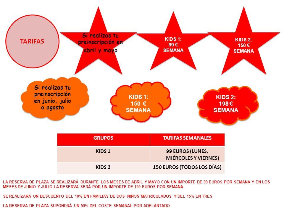 TARIFAS GRUPOSTARIFAS SEMANALES KIDS 199 EUROS (LUNES, MIÉRCOLES Y VIERNES) KIDS 2150 EUROS (TODOS LOS DÍAS) KIDS 1: 150 SEMANA KIDS 1: 150 SEMANA KIDS 2: 198 SEMANA KIDS 2: 198 SEMANA Si realizas tu preinscripción en junio, julio o agosto KIDS 2: 150 SEMANA KIDS 1: 99 SEMANA KIDS 1: 99 SEMANA LA RESERVA DE PLAZA SE REALIZARÁ DURANTE LOS MESES DE ABRIL Y MAYO CON UN IMPORTE DE 99 EUROS POR SEMANA Y EN LOS MESES DE JUNIO Y JULIO LA RESERVA SERÁ POR UN IMPORTE DE 150 EUROS POR SEMANA SE REALIZARÁ UN DESCUENTO DEL 10% EN FAMILIAS DE DOS NIÑOS MATRICULADOS Y DEL 15% EN TRES LA RESERVA DE PLAZA SUPONDRÁ UN 50% DEL COSTE SEMANAL POR ADELANTADO Si realizas tu preinscripción en abril y mayo