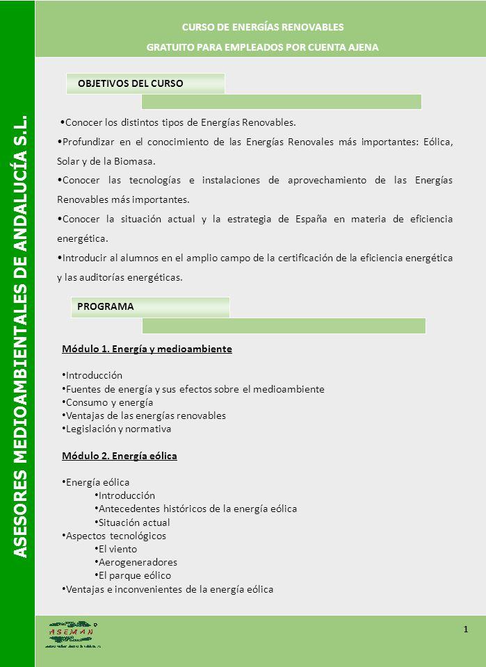 ASESORES MEDIOAMBIENTALES DE ANDALUCÍA S.L.2 PROGRAMA Módulo 3.