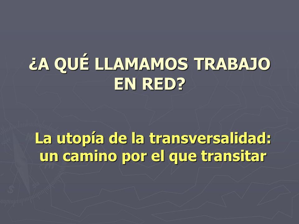 ¿A QUÉ LLAMAMOS TRABAJO EN RED? La utopía de la transversalidad: un camino por el que transitar