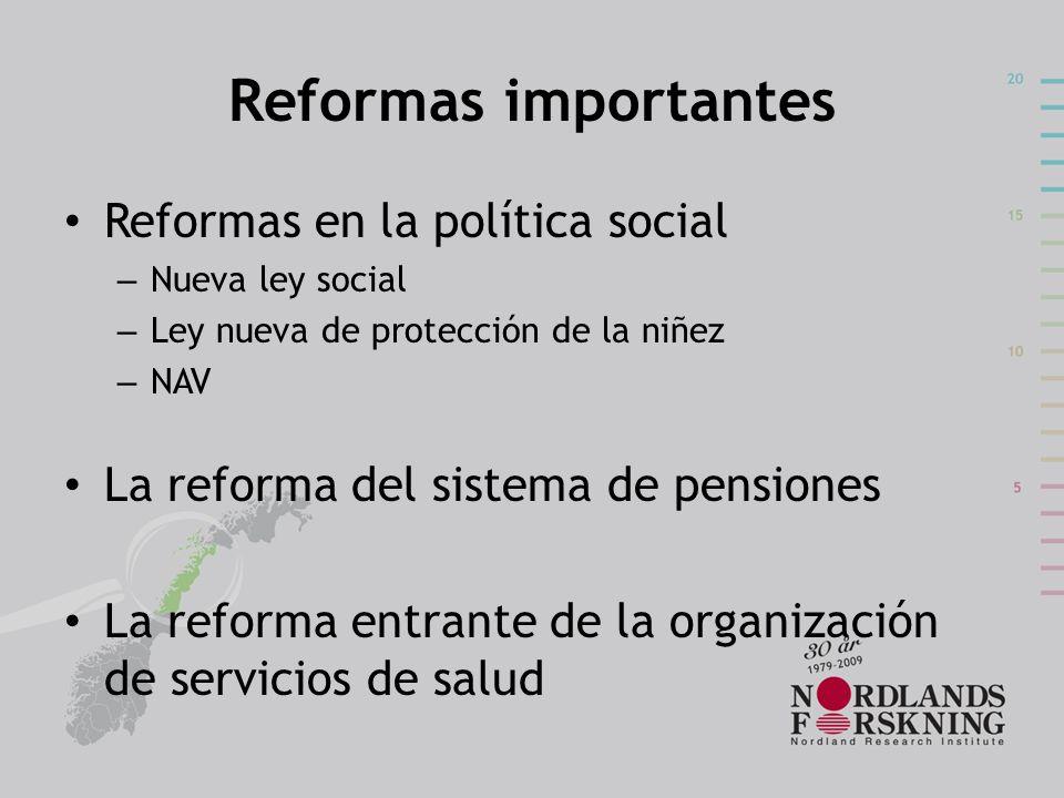 Reformas importantes Reformas en la política social – Nueva ley social – Ley nueva de protección de la niñez – NAV La reforma del sistema de pensiones