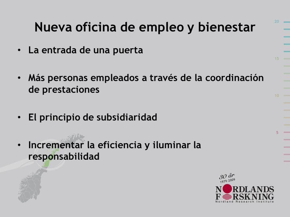 Nueva oficina de empleo y bienestar La entrada de una puerta Más personas empleados a través de la coordinación de prestaciones El principio de subsid