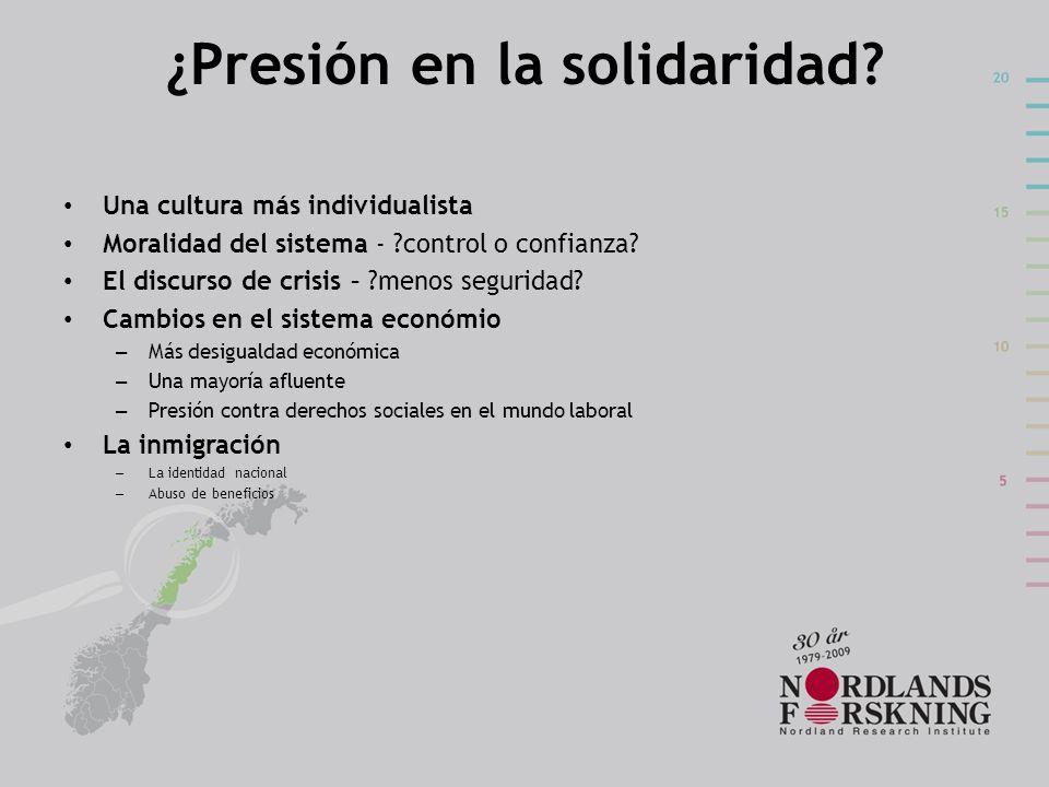 ¿Presión en la solidaridad? Una cultura más individualista Moralidad del sistema - ?control o confianza? El discurso de crisis – ?menos seguridad? Cam