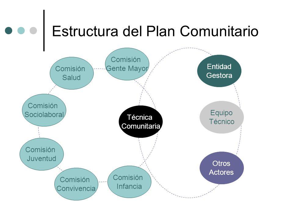 Estructura del Plan Comunitario Comisión Salud Comisión Sociolaboral Comisión Juventud Entidad Gestora Técnica Comunitaria Comisión Gente Mayor Comisi