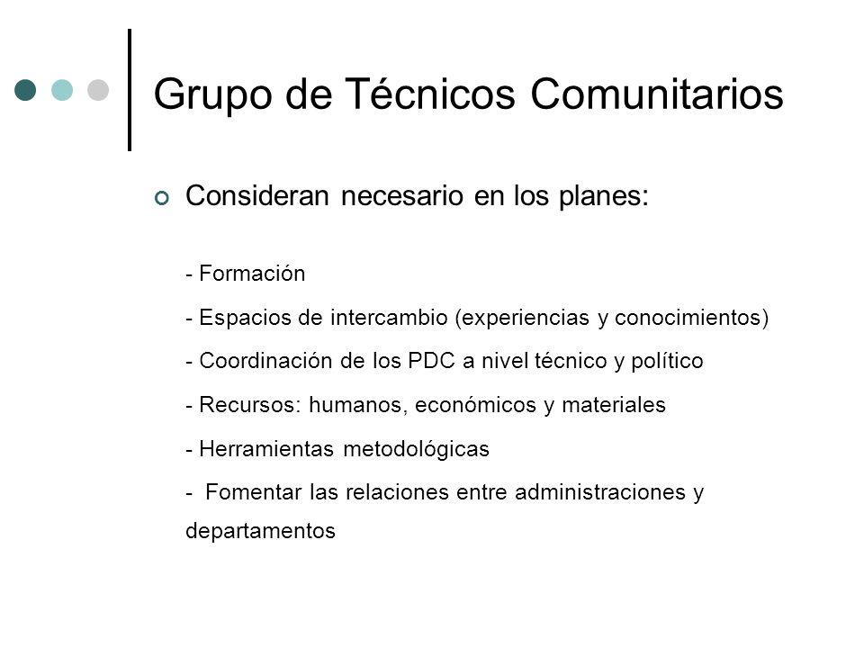 Grupo de Técnicos Comunitarios Consideran necesario en los planes: - Formación - Espacios de intercambio (experiencias y conocimientos) - Coordinación