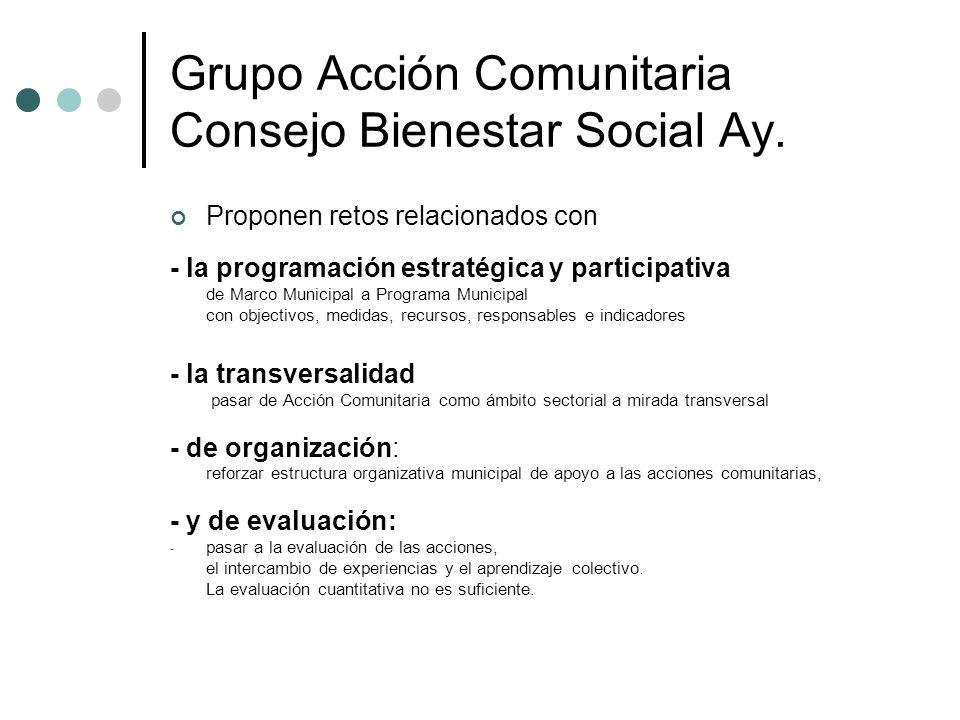 Grupo Acción Comunitaria Consejo Bienestar Social Ay. Proponen retos relacionados con - la programación estratégica y participativa de Marco Municipal