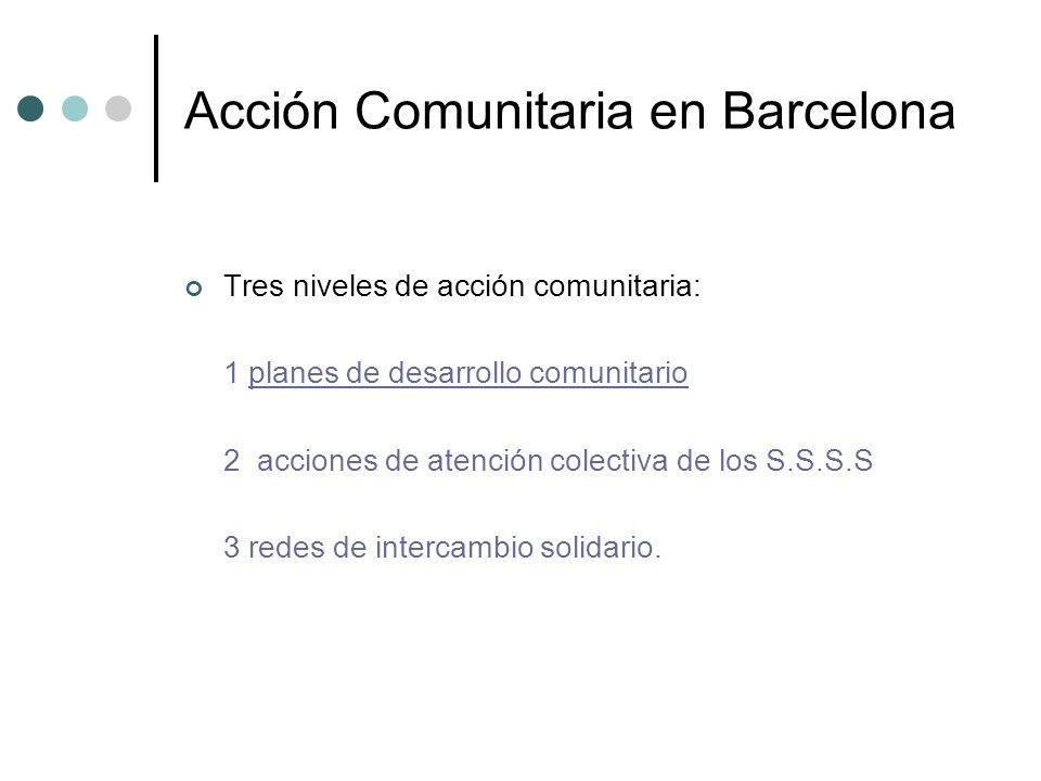 Acción Comunitaria en Barcelona Tres niveles de acción comunitaria: 1 planes de desarrollo comunitario 2 acciones de atención colectiva de los S.S.S.S