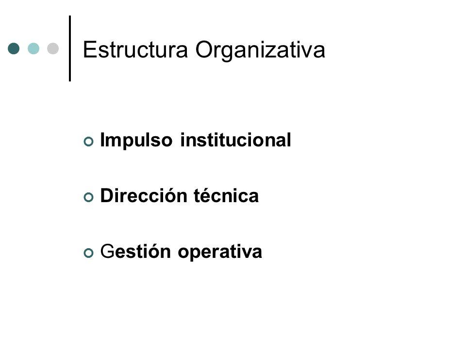 Estructura Organizativa Impulso institucional Dirección técnica Gestión operativa