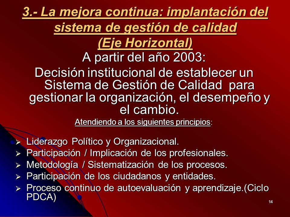 14 3.- La mejora continua: implantación del sistema de gestión de calidad (Eje Horizontal) A partir del año 2003: Decisión institucional de establecer un Sistema de Gestión de Calidad para gestionar la organización, el desempeño y el cambio.