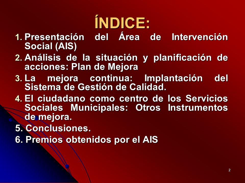 2 ÍNDICE: 1. Presentación del Área de Intervención Social (AIS) 2.