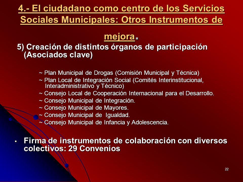 22 4.- El ciudadano como centro de los Servicios Sociales Municipales: Otros Instrumentos de mejora.