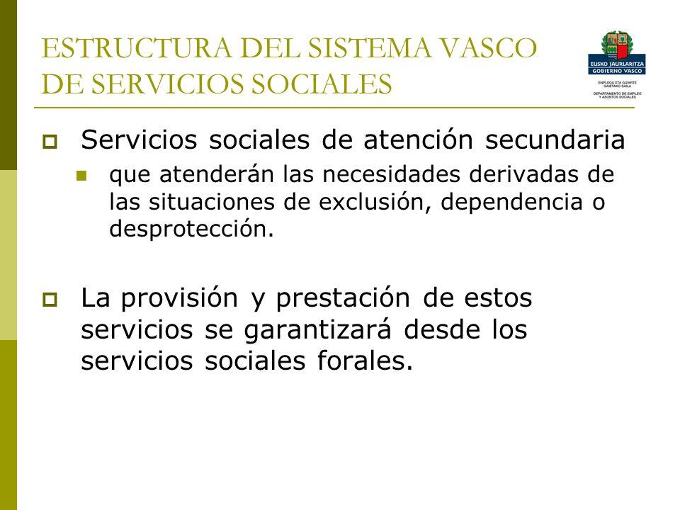 ESTRUCTURA DEL SISTEMA VASCO DE SERVICIOS SOCIALES Servicios sociales de atención secundaria que atenderán las necesidades derivadas de las situaciones de exclusión, dependencia o desprotección.
