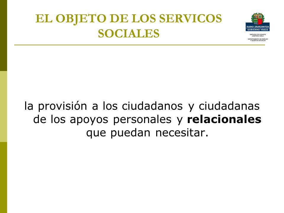 EL OBJETO DE LOS SERVICOS SOCIALES la provisión a los ciudadanos y ciudadanas de los apoyos personales y relacionales que puedan necesitar.