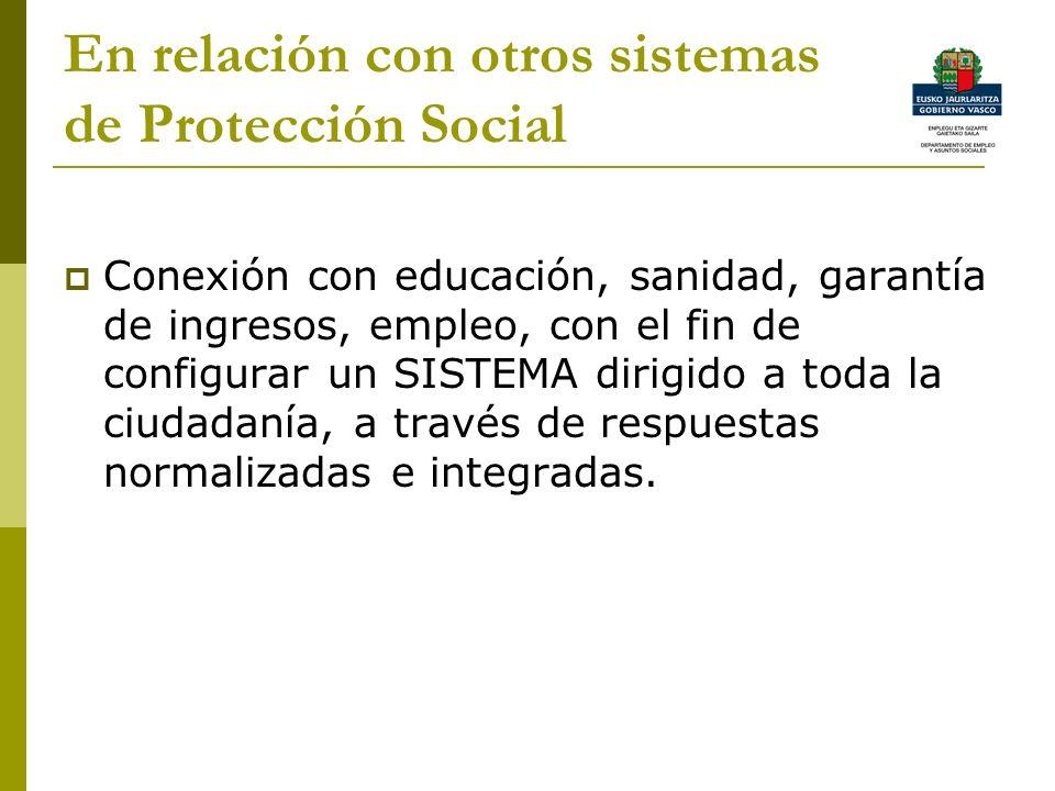 En relación con otros sistemas de Protección Social Conexión con educación, sanidad, garantía de ingresos, empleo, con el fin de configurar un SISTEMA dirigido a toda la ciudadanía, a través de respuestas normalizadas e integradas.