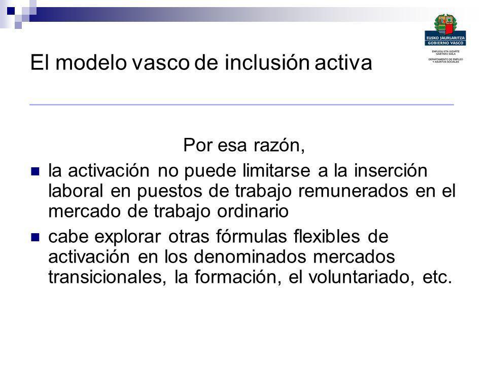 El modelo vasco de inclusión activa ________________________________________ Por esa razón, la activación no puede limitarse a la inserción laboral en