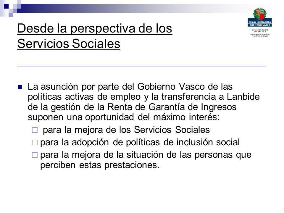 Desde la perspectiva de los Servicios Sociales _______________________________________________ La asunción por parte del Gobierno Vasco de las polític