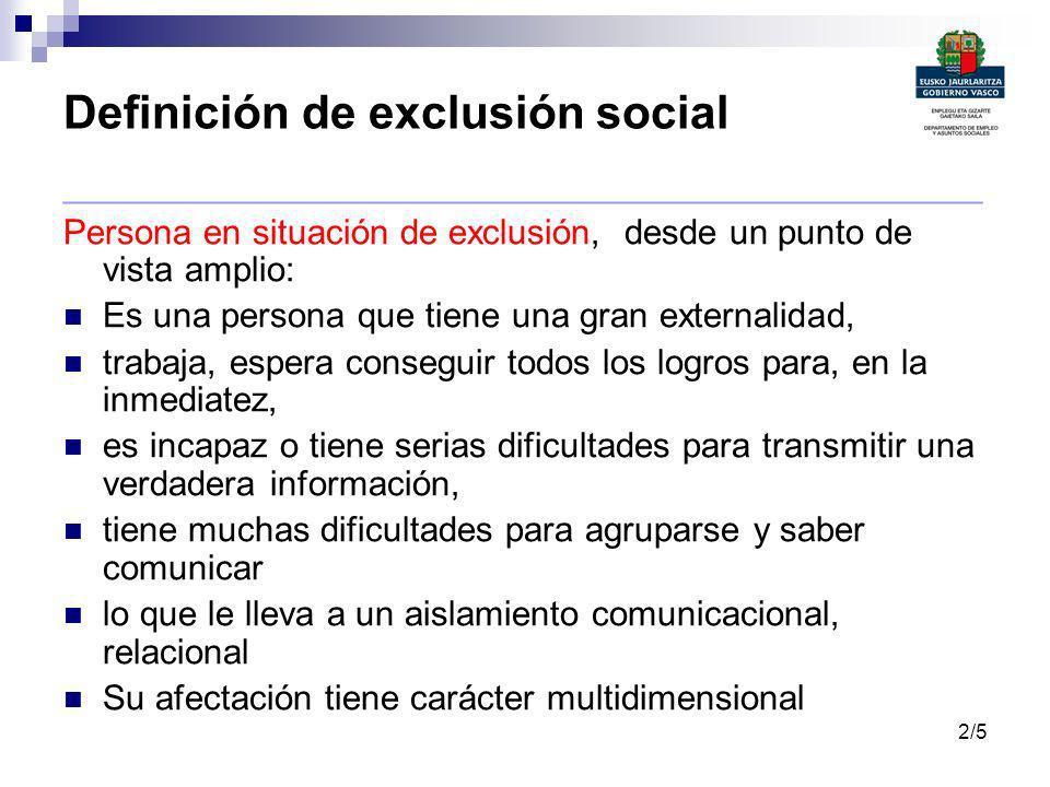 Definición de exclusión social _______________________________________________ Persona en situación de exclusión, desde un punto de vista amplio: Es u