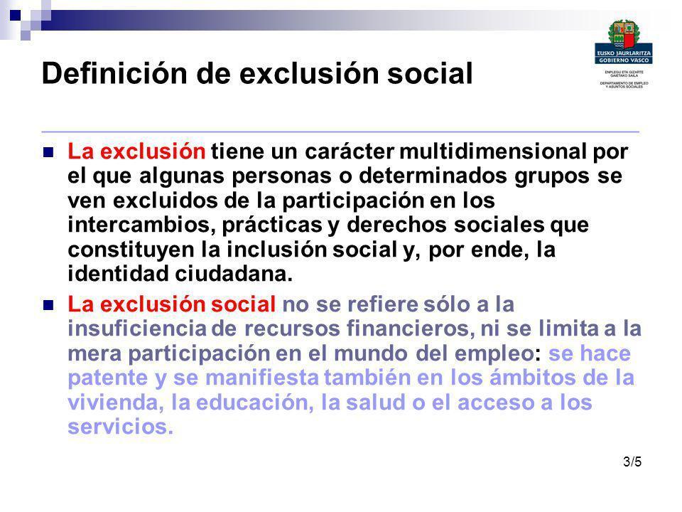 Definición de exclusión social _______________________________________________ La exclusión tiene un carácter multidimensional por el que algunas pers