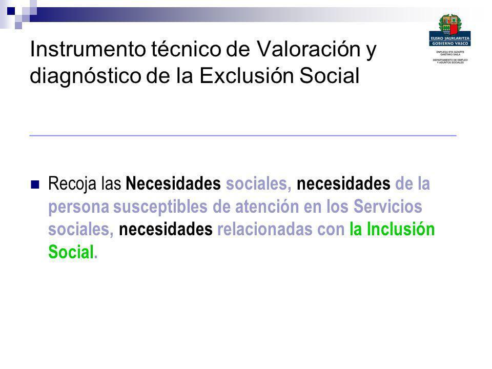 Instrumento técnico de Valoración y diagnóstico de la Exclusión Social ______________________________________ Recoja las Necesidades sociales, necesid