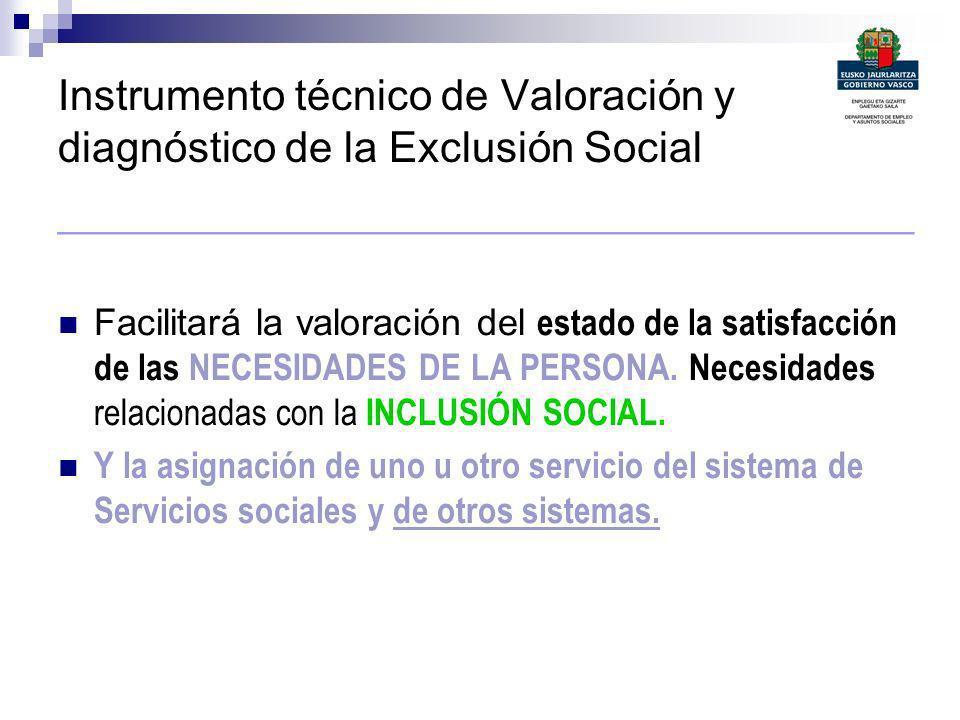 Instrumento técnico de Valoración y diagnóstico de la Exclusión Social _________________________________________ Facilitará la valoración del estado d