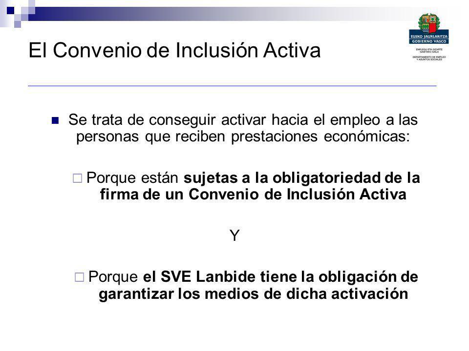 El Convenio de Inclusión Activa ________________________________________ Se trata de conseguir activar hacia el empleo a las personas que reciben pres