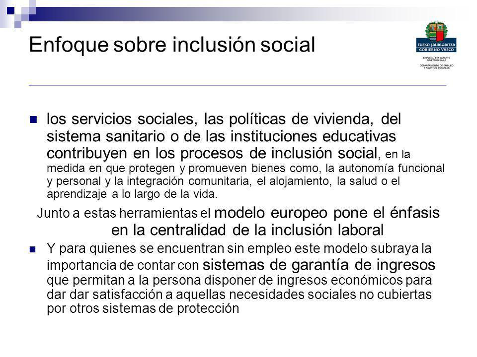 Enfoque sobre inclusión social _________________________________________________________________________________ los servicios sociales, las políticas