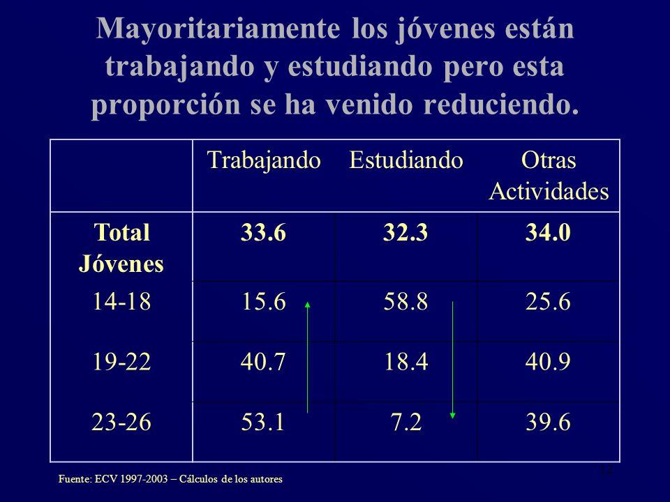 12 TrabajandoEstudiandoOtras Actividades Total Jóvenes 33.632.334.0 14-1815.658.825.6 19-2240.718.440.9 23-2653.17.239.6 Fuente: ECV 1997-2003 – Cálcu