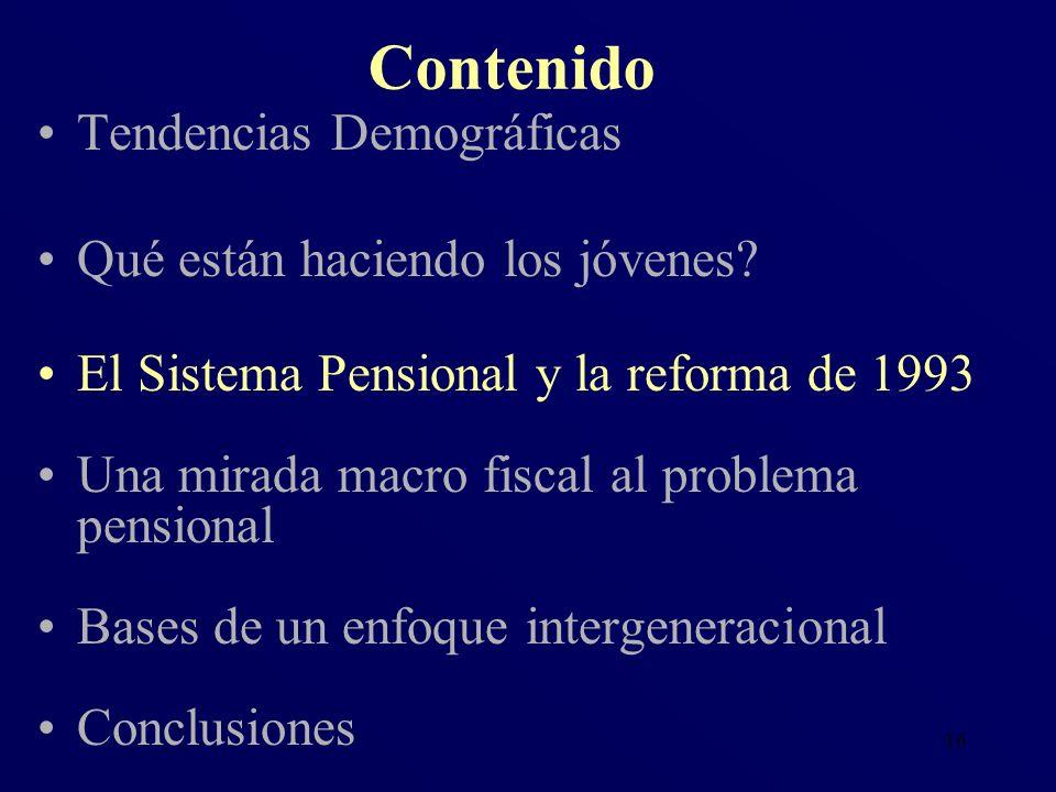 16 Tendencias Demográficas Qué están haciendo los jóvenes? El Sistema Pensional y la reforma de 1993 Una mirada macro fiscal al problema pensional Bas