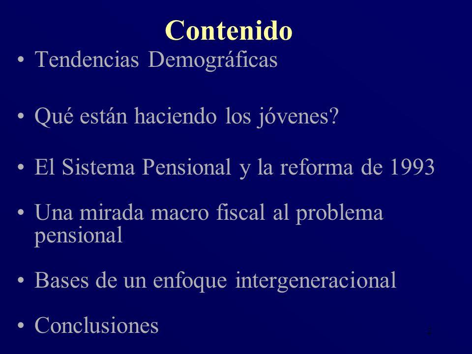 2 Tendencias Demográficas Qué están haciendo los jóvenes? El Sistema Pensional y la reforma de 1993 Una mirada macro fiscal al problema pensional Base
